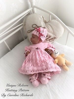 """Tulip "" Dress Set Knitting pattern for Reborn doll 16 -22"" or 0-3 Mth Old Baby"