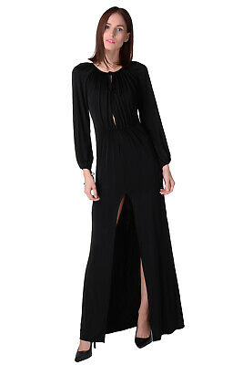 ALESSANDRA RICH Maxi Cocktail Dress Size IT 40 / XS Stretch Black Made in Italy