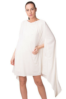 ELISABETTA FRANCHI Cape Dress Size IT 42 / S Ivory Stretch Draped Made in Italy
