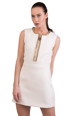 ELISABETTA FRANCHI Pencil Dress Size 42 / S Wool Blend Chain Trim Made in Italy