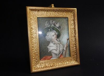 Antique French Signed Large Miniature Painting English Lady Ormolu Frame 5 1/4""