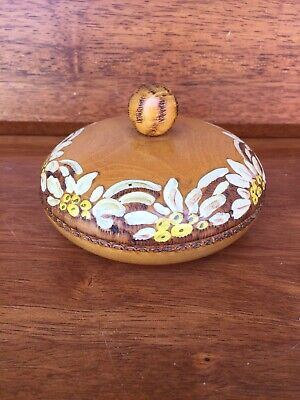 Wooden Lidded Pokerwork And Hand-painted Container Postojna Slovenia