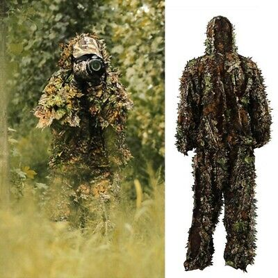 3D Leafy Leaves Ghillie Suit Set Jungle Woodland Hunting Camo Outdoor Camouflage