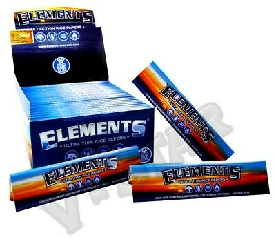 1 5 10 15 25 Elements Ultra Thin Rice King Size Slim Rolling Papers Skin Genuine