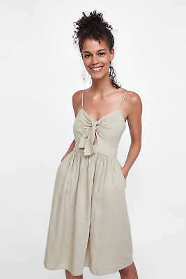264697e0 NEW ZARA AW18 Knotted Strappy Dress Sand Linen Size S ref 7715/496 1 ...