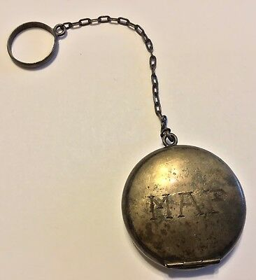 SMALL ANTIQUE STERLING SILVER PILL BOX with FINGER CHAIN