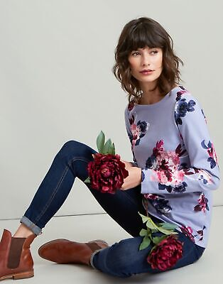 Joules Womens Harbour Printed Jersey Top Shirt in DUSK GREY WINTER FLORAL