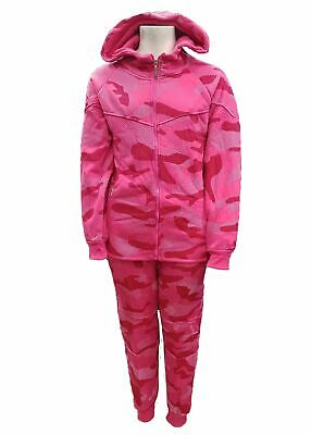 NEW KIDS GIRLS CAMO TRACKSUIT HOODED TOP & JOGGING BOTTOM SET 4-14 Years