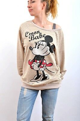 Bershka Disney C'Mon Babe Long Sleeved Beige Gold Glitter Minnie Mouse Top M/L