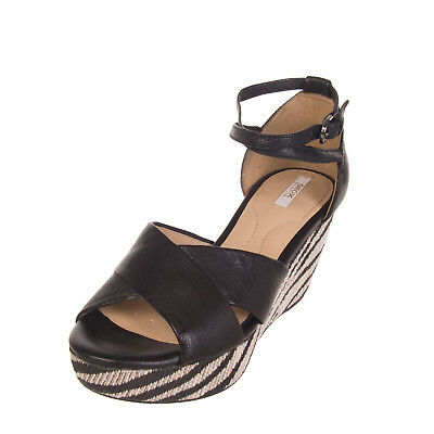 f7e824ae5c1 GEOX RESPIRA Leather Ankle Strap Sandals EU 35 UK 2 Criss Cross Design  Platform