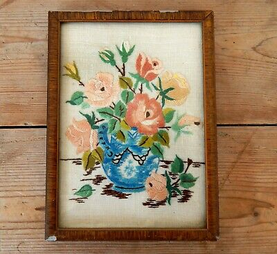 Antique Embroidery Vase of Flowers Hand Embroidered Vintage Framed - Victorian?