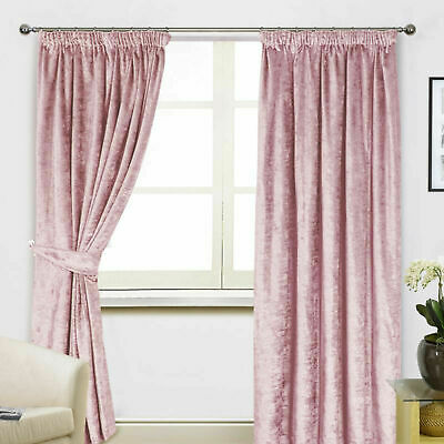 Blush Pink Crushed Velvet Pair Tape Top Ready Made Curtains - Machine Washable