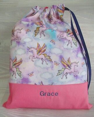PERSONALISED *Flying Unicorns* Pink X-STRONG EMBROIDERED LIBRARY BAG DRAWSTRING