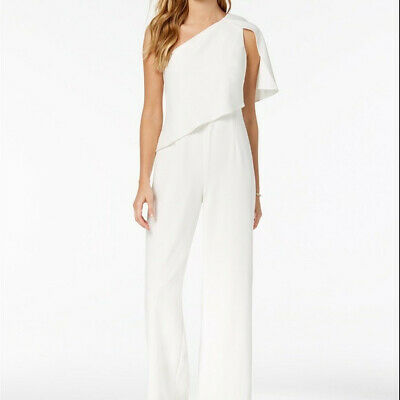 30e546125c2a Adrianna Papell Draped One Shoulder Ivory Jumpsuit Size 12 NWT