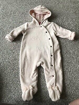 Ted Baker Baby Girls Soft Velour Pink Bunny Pramsuit 3-6 Months
