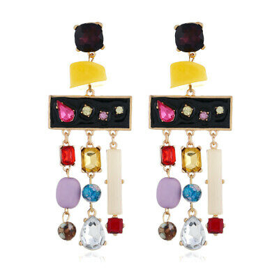 Amazing Colorful Rhinestone Dangling Stone Bead Earrings
