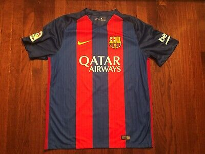 ed4400d6 Fc Barcelona Barca Soccer Jersey Mens Large Nike Red Blue Football Qatar  Airways