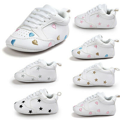 Toddler Newborn Baby Boy Girl Soft Sole Shoes Leather Sneakers Pram Trainers NE