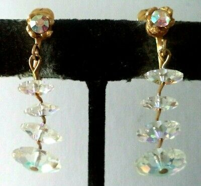 "Vintage Estate High End Margarita Heliotrope Crystal 1 5/8"" Clip Earrings! G460I"