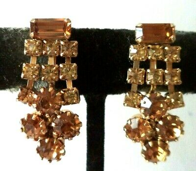"Stunning Vintage Estate Unsigned Weiss Rhinestone 1 1/8"" Clip Earrings!!! G460Y"