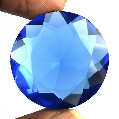 London Blue Topaz Loose Gemstone 100.45 Ct Round Cut 34 x 33 mm Certified C929
