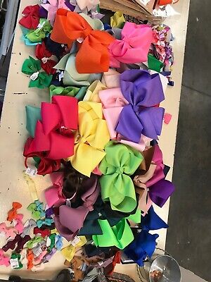 HUGE Lot Of Hair Bows Grosgrain Linen Big Bows Baby Bows Alligator Clip Hair Tie