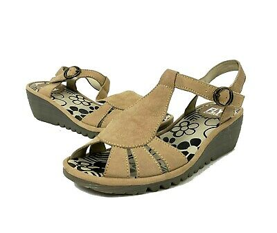 5ccaf6bcb5c435 FLY London Khaki Taupe Suede T Strap Open Toe Wedge Sandal Women s 38   7.5  -
