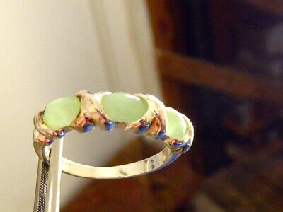 Signed Han Sterling Silver Mined Oval 3 Stone Jadeite Jade Band Ring Sz 7 3/4