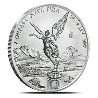2019 Mexico 2 Oz (2 Onza) Silver Libertad Coin .999 Fine - Gem Uncirculated