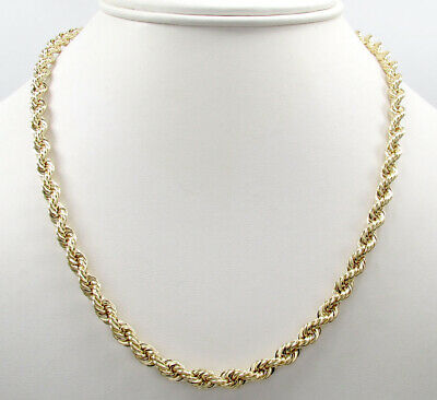"14K Solid Yellow Gold 4MM Rope Chain Thick Necklace Bracelet  Mens Women 18""-30"""