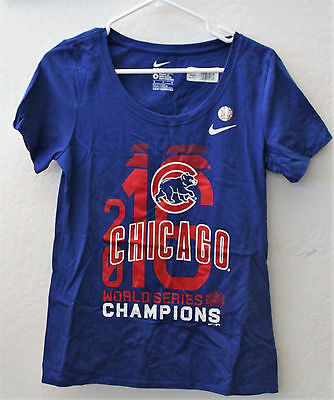 WOMENS NIKE 2016 Chicago Cubs World Series Champ Scoop Shirt-Blue-Med-NWT 20a4199575