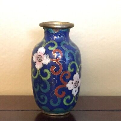 Old Chinese Cloisonne on Copper Mini Vase-Hand Made Mineral Colors-Well Polished