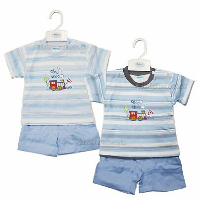 Baby Boy Clothes T shirt shorts striped blue 0-3 3-6 6-9 Months