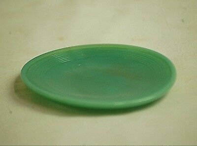 Vintage Akro Agate Depression Child's Opaque Jade Green Plate w Concentric Rings