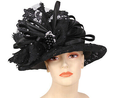 991b67e7b7c WOMEN S SATIN LACE Church Hats - Black - H879 -  99.00