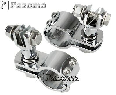 """Pair Chrome Foot Peg Clamps For Harley 1 1/4"""" Engine Guard Highway Pegs Footpegs"""