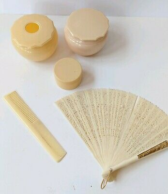 5 Pc Celluloid French Ivory Vanity Lot: Fan, 3 Pots, Comb Colonial Quality