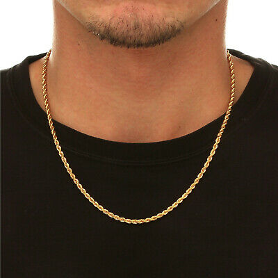 """10K Solid Yellow Gold Necklace Gold Rope Chain Thick 16"""" 18"""" 20"""" 22"""" 24"""" 26"""" 30"""