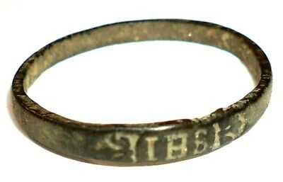 """Ancient Late Medieval Religious BRONZE FINGER RING with hristogram """"IHS"""" (2)"""