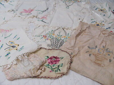 13Pc LOT *Arts & Crafts-1940s LINEN DOILIES & Dresser Scarves *BUTTERFLIES PANSY