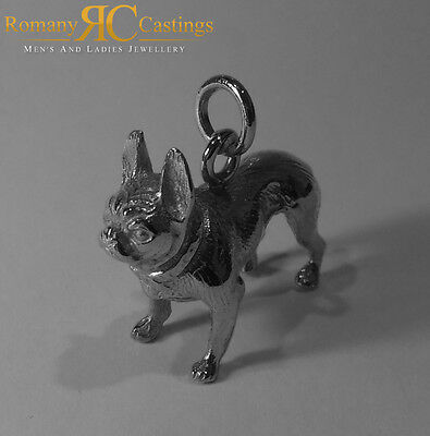 925 Sterling Silver Heavy French Bull Dog Pendant with large Jump Ring Stunning