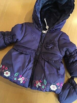 NEW RP £26 3/6 MTHS M&Co BABY GIRL BUBBLE HEM PURPLE JACKET MITTENS FLEECE LINED