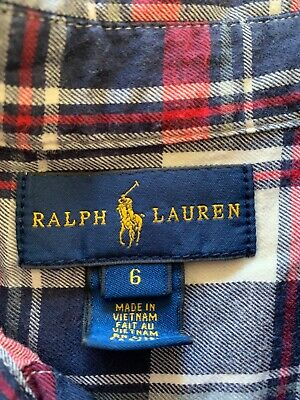 boys red & navy Ralph Lauren long sleeved check shirt age 6 excellent condition