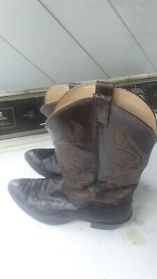 84fb61c468a VTG MENS NOCONA COWBOY OSTRICH SKIN LEATHER BOOTS SIZE 12 ee (wide)