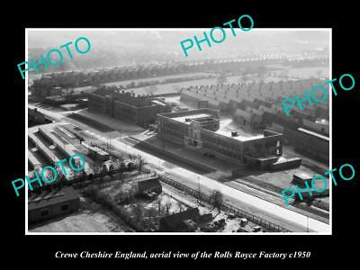 OLD LARGE HISTORIC PHOTO OF CREWE CHESHIRE ENGLAND ROLLS ROYCE FACTORY c1950 1