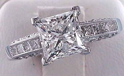 2.65 ct Princess Cut Solitaire Anniversary Engagement Ring Solid 14k White Gold