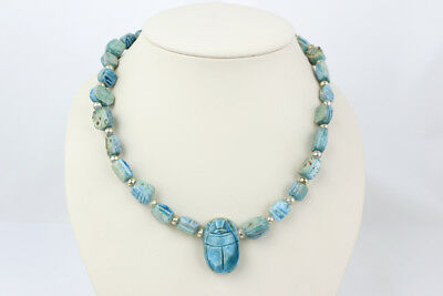 Egyptian Faience Blue Scarab Beaded Necklace