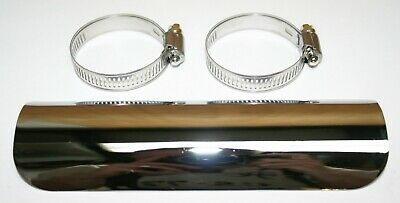 """7"""" Chrome Plated Heat Shield with Clamps - Will fit 1.5"""" to 2"""" Pipes NEW!"""