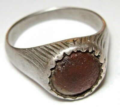Ancient Rare Medieval solid silver finger ring with Amber stone.