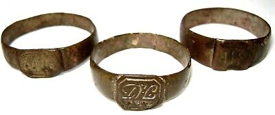Ancient Post medieval lot of 3 pcs bronze finger Rings with initials.